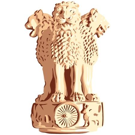 ashoka: Indian lions emblem of Ashoka Illustration