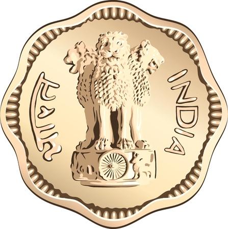 piece d or: Indian rupee battre monnaie d'or avec les lions d'Ashoka Illustration