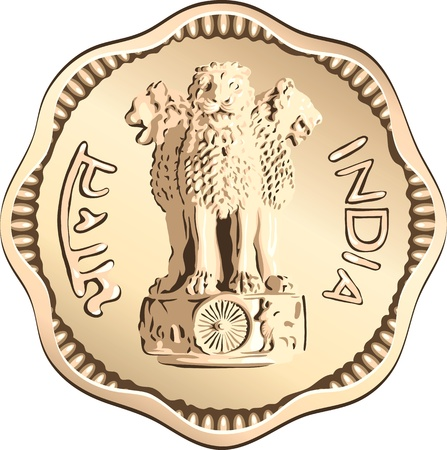 indian money: Indian rupee gold coin money with the lions of Ashoka Illustration