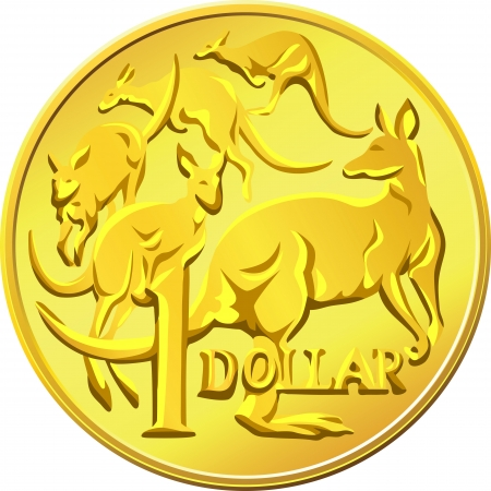 australian money: gold one Dollar coin with the image of a kangaroo five Illustration