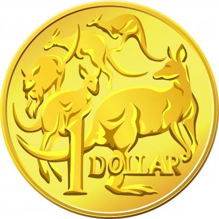 piece d or: pi�ce en or de un dollar avec l'image d'un kangourou cinq Illustration