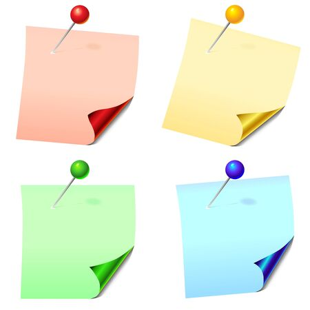 curled corner: colored paper sheets for notes with a glossy curved corners pinned office pins