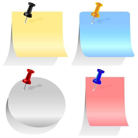 krökt: färgade pappersark för anteckningar olika former nålas office pins Illustration