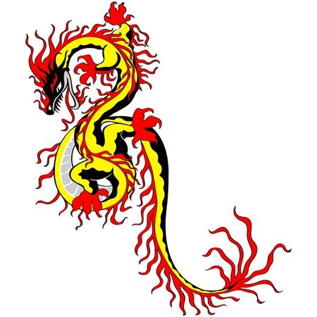 snake calendar: Chinese fire dragon gold isolated on white background