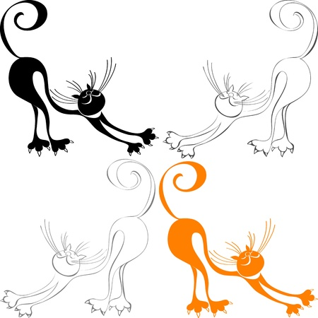 cat stretching: stylized silhouette red cat, which stretches, arching his back and raising his tail