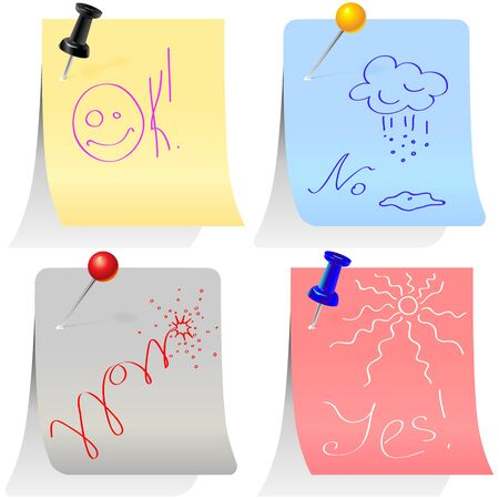 colored paper sheets for notes different forms with amusing drawings and inscriptions pinned office pins Vector