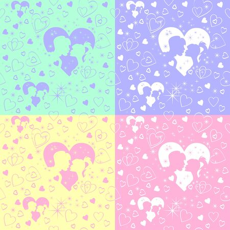 yelllow: background for Valentines Day, silhouettes kiss a girl and a guy in a frame of hearts in the stars