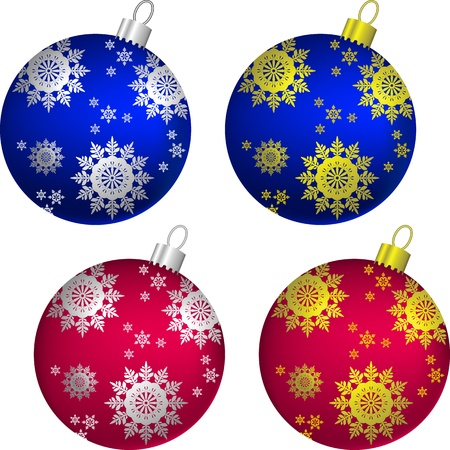 set of blue and red shiny balls of Christmas decorated with gold and silver snowflakes, isolated on white background Stock Vector - 10754636