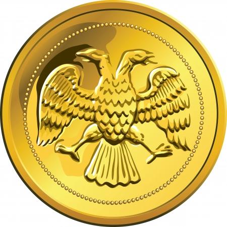 headed: Rublo russo battere moneta d'oro con aquila bicipite, isolato su sfondo bianco