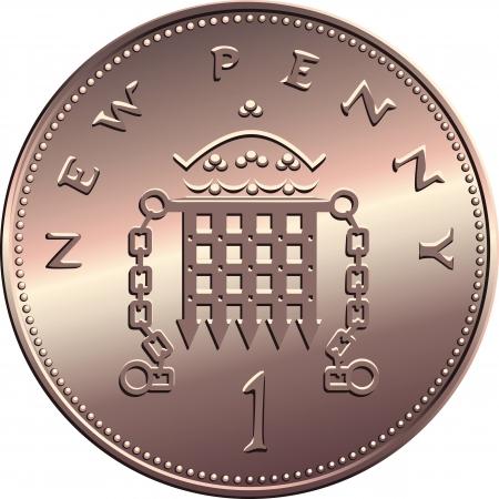 portcullis: Britannico bronzo battere moneta nuovo un centesimo con saracinesca e la corona, isolato su sfondo bianco Vettoriali