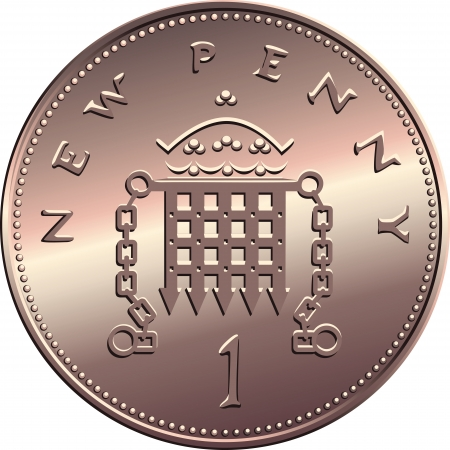British money bronze coin new one penny with portcullis and crown, isolated on white background