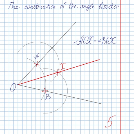 estimate: drawing the solution of the bisectors of the angles in the construction, the division of the angle in half, on a piece of tetrad school notebook in a cage with an estimate of five Illustration