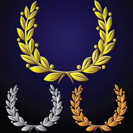wreath: gold, silver, bronze laurel wreath on dark blue background
