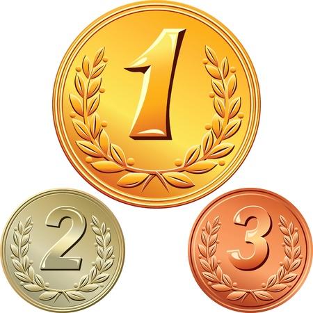 oro, argento e medaglia di bronzo per vincere la competizione con l'immagine di una corona di alloro e il primo, secondo, terzo posto Vettoriali