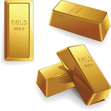 lingote de oro: acu�adas bares en diferentes �ngulos aislados sobre fondo blanco Vectores