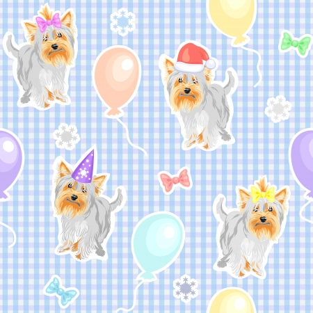 yorkshire: seamless background with funny dogs Yorkshire terriers in the New Year and caps with ribbons, balloons Illustration