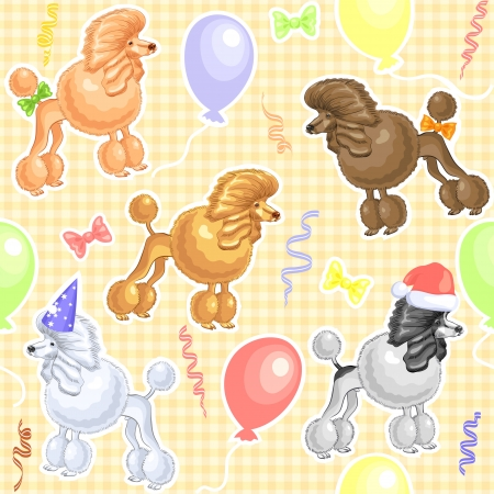 poodle: seamless background with funny dogs Poodle breed, decorated with bows and Winter Hat and New caps and balloons Illustration
