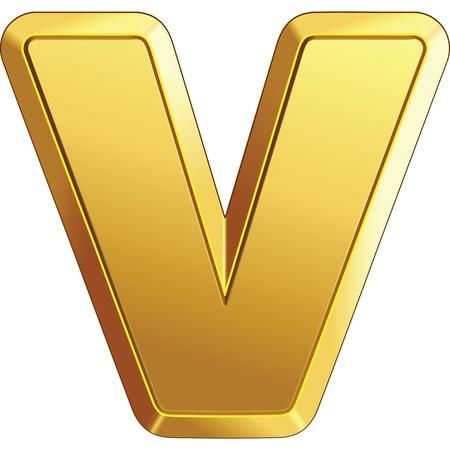 gold bar letter V isolated on white background