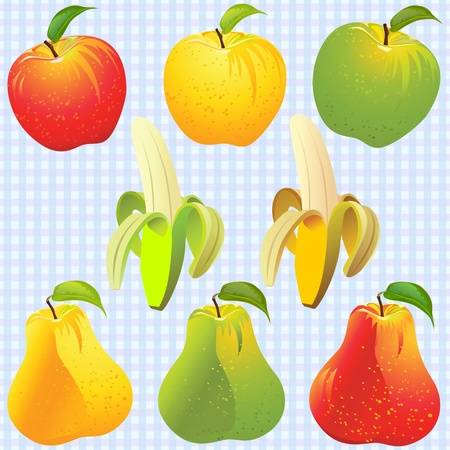 apple leaf: Background, yellow, green, red apples, pears, bananas, against the background of blue cells