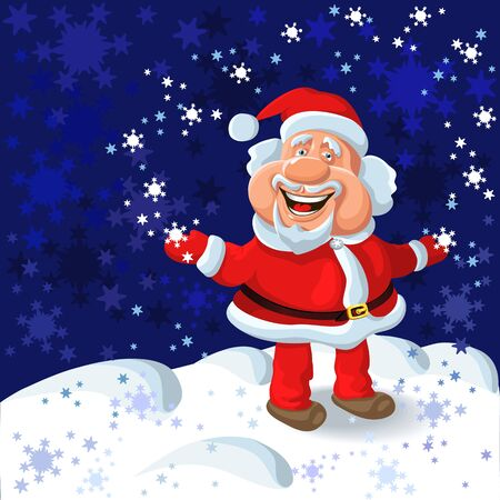 funny cartoon Santa Claus plays with snowflakes on the background of the New Years blue sky and snow Vector