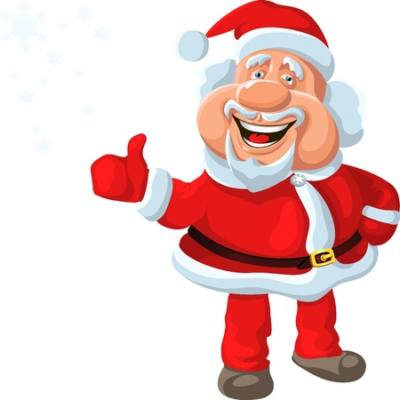 funny cartoon Santa Claus shows OK, isolated on the white background Vector
