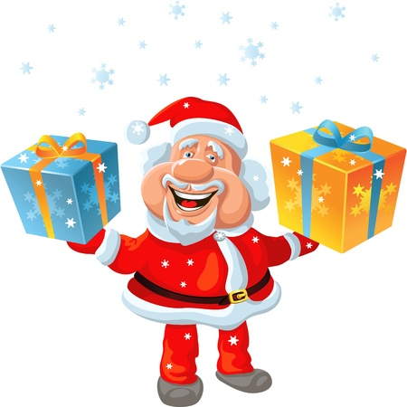 nick: funny cartoon Santa Claus holding a gift