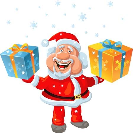 funny cartoon Santa Claus holding a gift Stock Vector - 11067694
