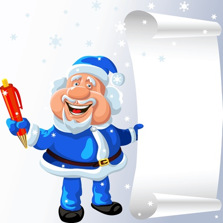 new year scroll: funny cartoon Santa Claus plays with a pen and a scroll in his hands Illustration