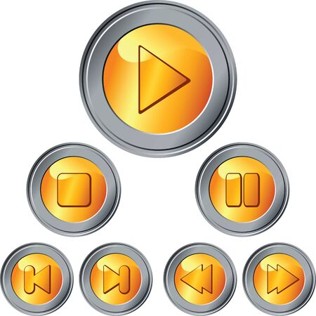 pause button: set of gold and silver button to scroll and control isolated on the white background Illustration