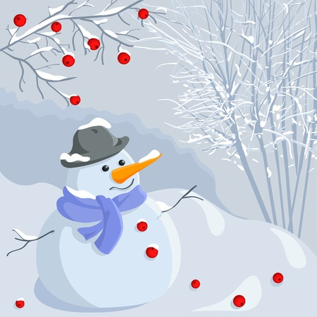funny snowman in a hat and scarf on the background of a winter forest under a branch of mountain ash, in pastel shades of blue with bright red accents