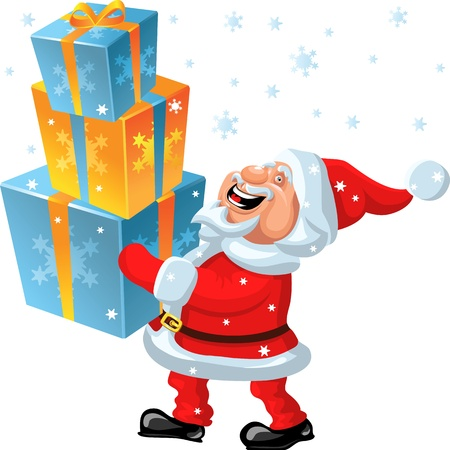 brings: funny cartoon Santa Claus brings in the hands of many gifts