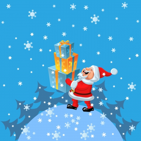funny cartoon Santa Claus comes around the globe with gifts in hand Vector