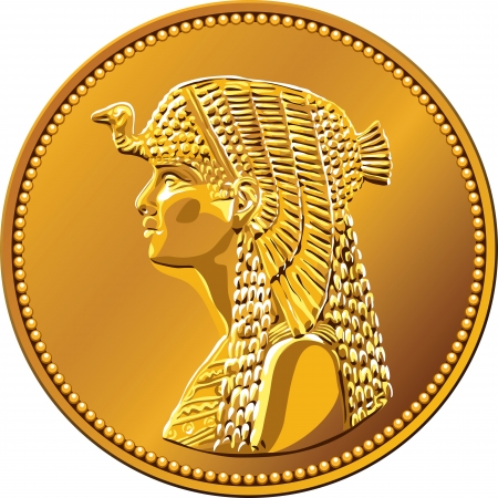 Arab Republic of Egypt, the coin of fifty piastres, shows the queen Cleopatra Vector