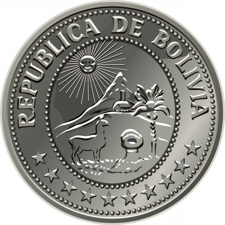 Bolivian money, the silver centavo coin fifty with the image of a sunrise in the mountains