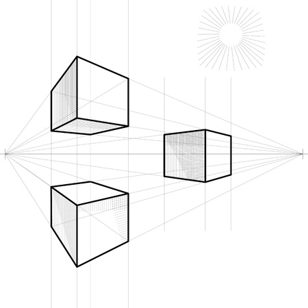 vanishing: drawing of a cube in perspective with two vanishing points
