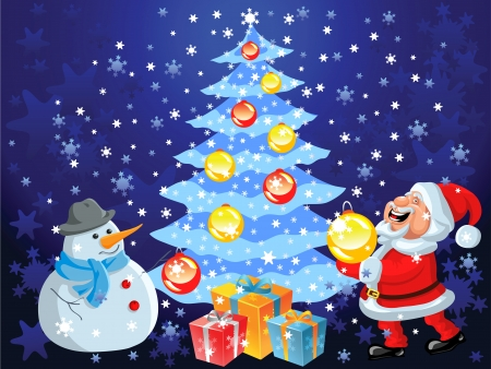 Christmas background with Christmas tree, snowflakes, toys, gifts, decorations, happy cartoon Santa Claus and snowman Vector