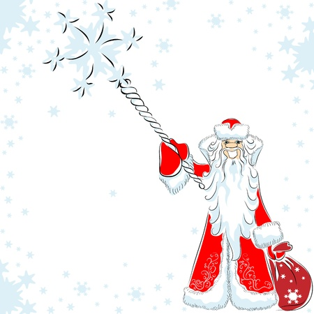 father frost: happy Santa Claus or Father Frost conjures, pointing his staff at the viewer around the flying Illustration