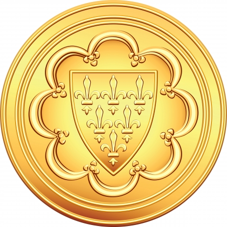 obverse: Gold obverse old French coin with the image of the shield bearing a coat of arms - the first ecu, issued by Louis IX of France Illustration