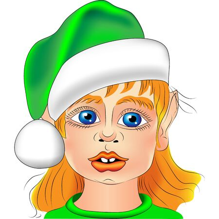 Christmas elf portrait close-up with big blue eyes in the green hat isolated on white background Vector