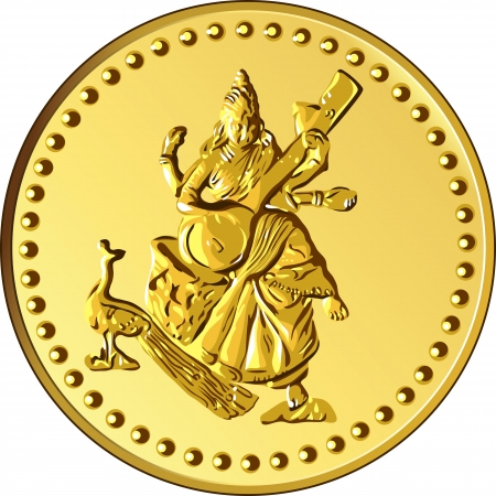 indian money: shiny gold coin with the image of dancing and playing a musical instrument of Indian four-armed Shiva