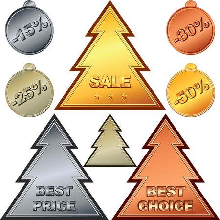 Christmas Set of gold, silver, bronze money coin, price tags and sale signs. Vector