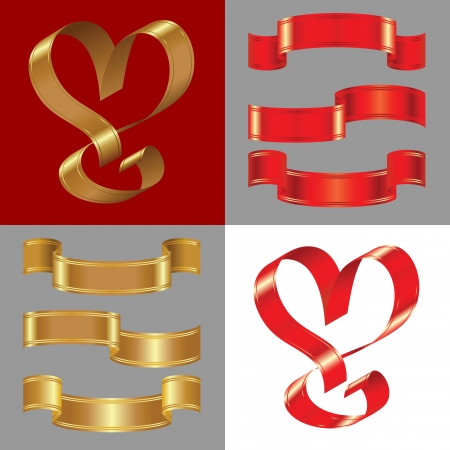 gold heart: set of the shiny gold and red ribbons
