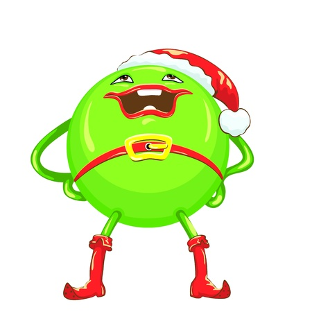 charismatic: green ball in a red Christmas hat and boots with a smile stands legs apart and hands on hips, isolated on white background