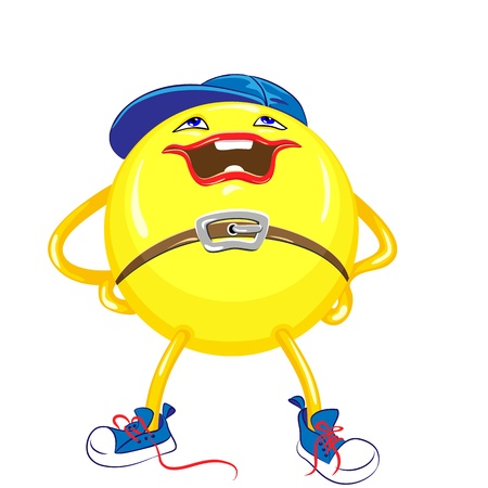 bola amarilla en la tapa de color azul y zapatillas de deporte con una sonrisa significa las piernas separadas y las manos en las caderas, aisladas sobre fondo blanco