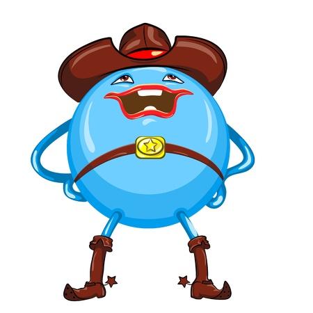 jambes �cart�es: boule bleue dans un chapeau de cow-boy marron et des bottes avec des �perons, avec un sourire est les jambes �cart�es et mains sur les hanches, isol� sur fond blanc