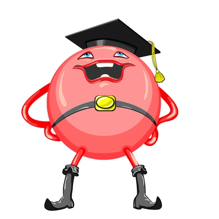 charismatic: red ball in a black academic hat and boots with a smile stands legs apart and hands on hips, isolated on white background