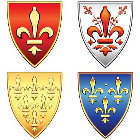 red clover: traditional old shields with the arms of France and Florence, lily (fleur de lis) in blue, red, gold, silver background, isolated on white background Illustration