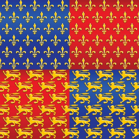 seamless pattern with traditional French heraldic motif of the golden lilies (fleur de lis), and the lions on a red and blue background