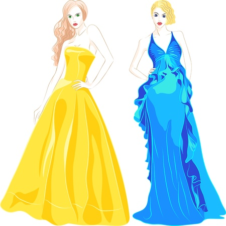 belles jeunes filles aux cheveux longs dans une robe de soirée de la mode des couleurs bleu et or isolé sur fond blanc