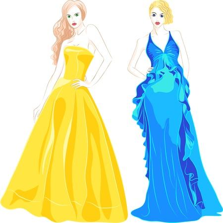 traje de gala: hermosas chicas con el pelo largo en una noche, vestidos de moda los colores azul y oro sobre fondo blanco Vectores